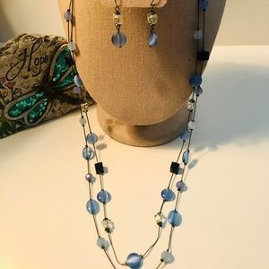 DOUBLE STRAND PEWTER-TONE NECKLACE/EARRINGS SET
